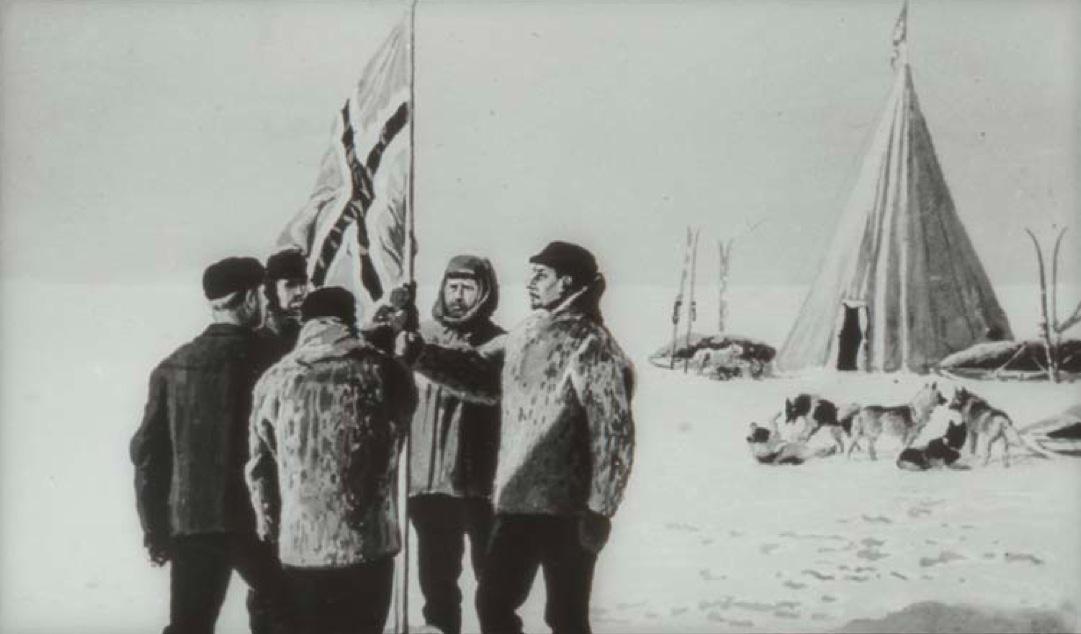 Amundsen, Bjaaland, Hanssen, Hassel et Wisting au pôle Sud en 1911