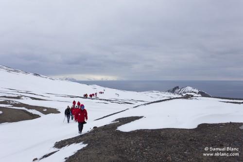 Groupe de randonneurs lors d'un voyage à l'Ile Deception dans les Shetland du Sud