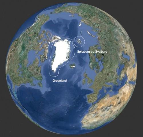 Carte du Spitzberg et du Groenland en Arctique