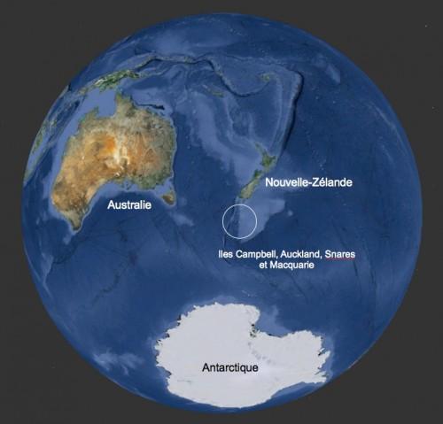 Localisation des îles sub-antarctiques d'Australie et de Nouvelle-Zélande