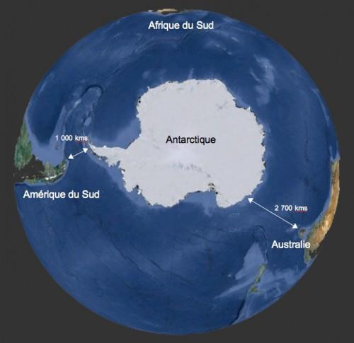Carte des trajets vers l'Antarctique