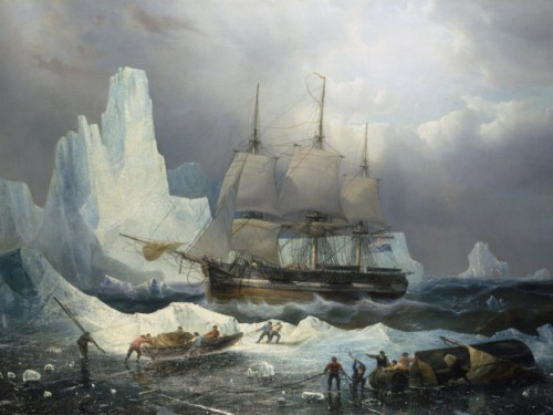 Peinture du 19ème siècle de Francois Etienne montrant l'Erebus en Antarctique