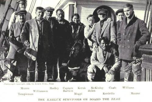 Les survivants de l'île Wrangel à bord du Bear en septembre 1914