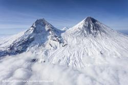 Volcan Kamen et volcan Klyuchevskoy
