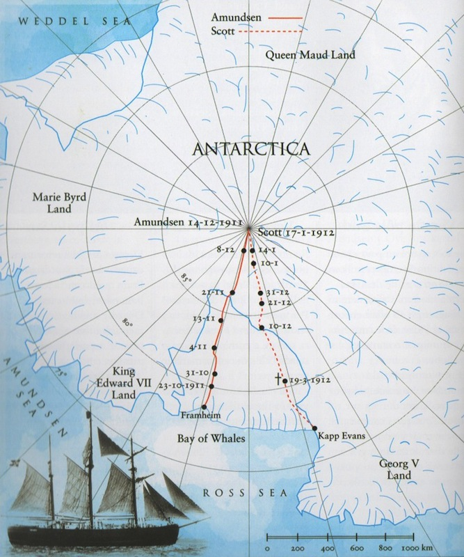Carte des trajets respectifs d'Amundsen et Scott pour atteindre le pôle Sud