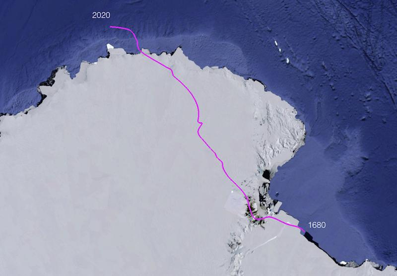 Dérive du pôle sud magnétique de 1680 à 2020. Source : NOAA