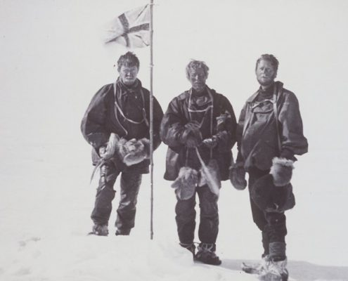 Douglas Mawson, Edgeworth David et Alistair Mackay le 16 janvier 1909