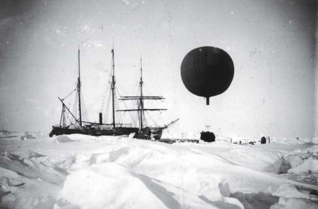 Photographie du début de l'ascension du ballon à hydrogène le 29 mars 1902