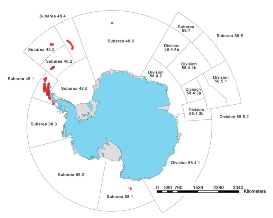 Carte des colonies du manchot à jugulaire en Antarctique